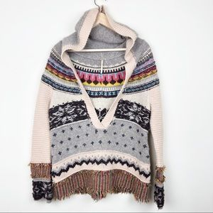 Free People • V Neck Hooded Sweater • Small